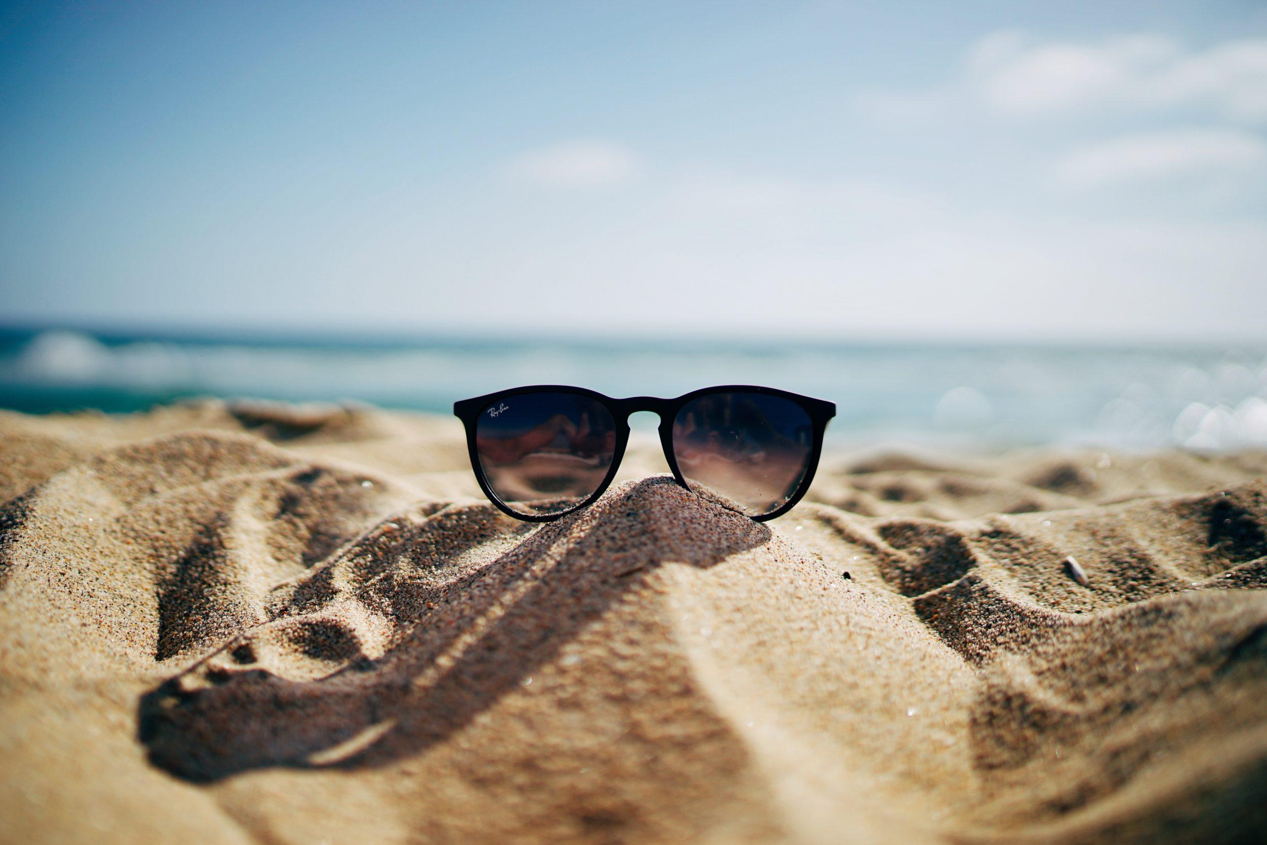 sunglasses on sand at the beach
